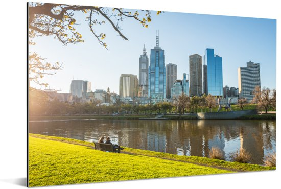 Uitzicht op de wolkenkrabbers in Melbourne vanuit een park Aluminium 120x80 cm - Foto print op Aluminium (metaal wanddecoratie)