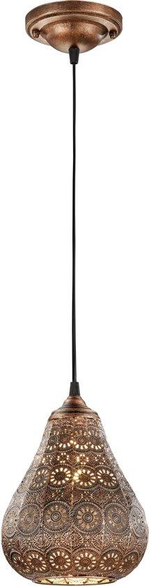 TRIO, Hanglamp, Jasmin 1xE14, max.40,0 W Armatuur: Metaal, antiek koper Ø:19,0cm, H:150,0cm