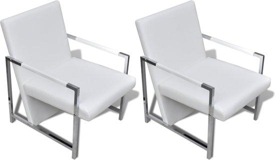 Moderne Fauteuil Aanbieding.Bol Com Vidaxl Design Fauteuil Met Arm Wit Set Van 2