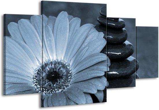 Schilderij | Canvas Schilderij Bloem, Stenen | Blauw, Grijs | 160x90cm 4Luik | Foto print op Canvas