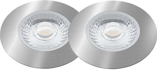 LED inbouwspot set - 2x4W / Geborsteld Chroom / DIMBAAR