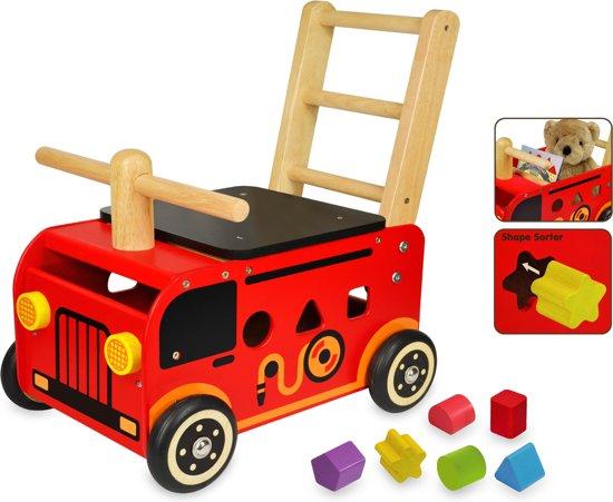 Afbeelding van Im Toy Loopwagen Brandweer met blokken speelgoed