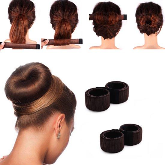 2x Knot Maker - Maak de perfecte haarknot - Bun Maker - Haar knot maker - Donkerbruin