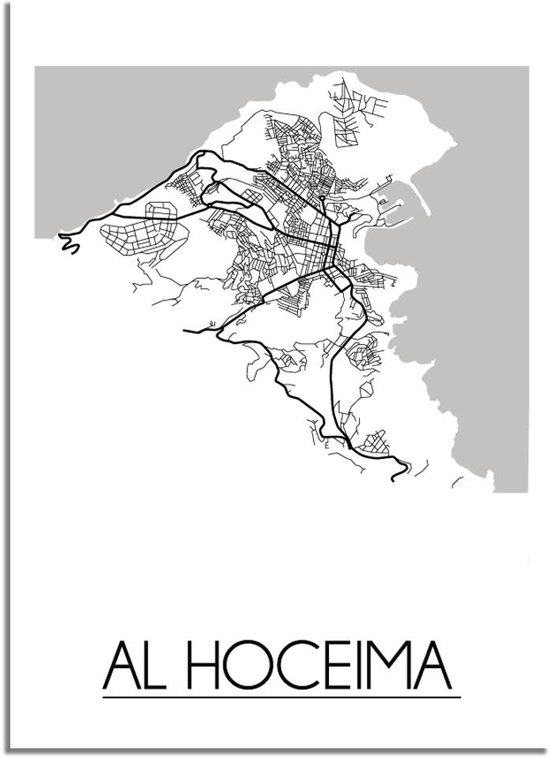 DesignClaud Al Hoceima Plattegrond poster A3 poster zonder fotolijst