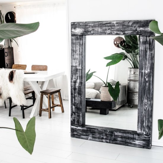 bol | spiegel rockwash xl | grote spiegel handgemaakt houten lijst