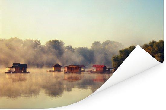 Rivier Sava in de ochtend in de Servische stad Belgrado Poster 30x20 cm - klein - Foto print op Poster (wanddecoratie woonkamer / slaapkamer)