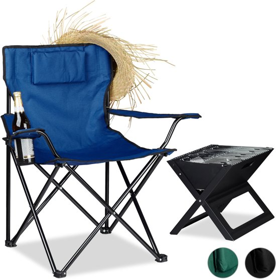relaxdays - camping stoel met bekerhouder, armleuningen en kussentje - tuinstoel - Blauw