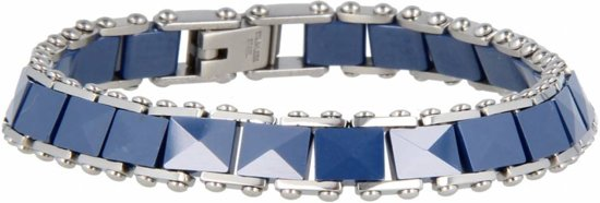 My Bendel schakelarmband keramiek - GO1023 - Blauw - 8 mm