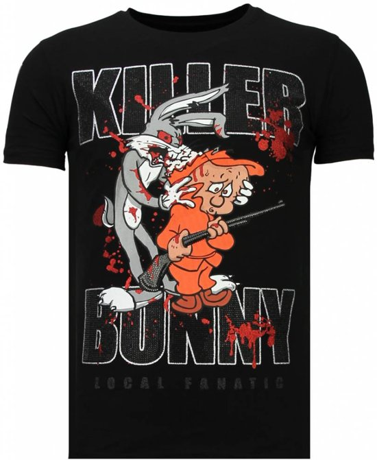 Local Fanatic Killer Bunny - Rhinestone T-shirt - Zwart - Maten: XXL