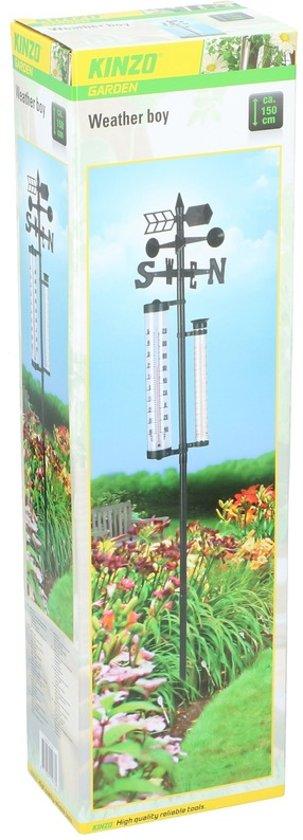 Weermeter/station voor buiten 150 cm - Buitenthermometer - Regenmeter - Windmeter - Tuin artikelen
