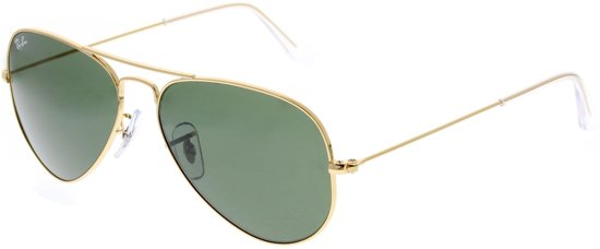 Ray-Ban RB3025 W3234 - Aviator Large Metal (Classic) - zonnebril - Goud / Groen Klassiek G-15 - 55mm