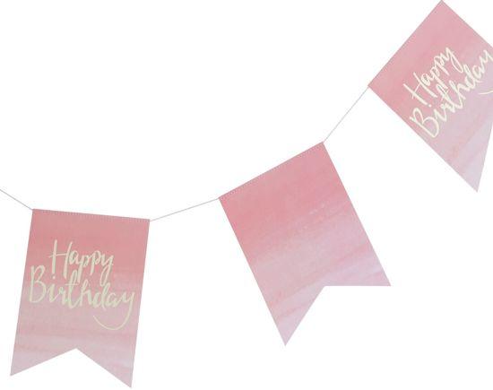 Ginger Ray Pick & Mix - 'Happy Birthday' verjaardag vlaggenlijn - Ombre roze - 3 meter Valentinaa