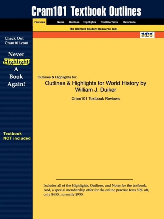 Outlines & Highlights for World History by William J. Duiker
