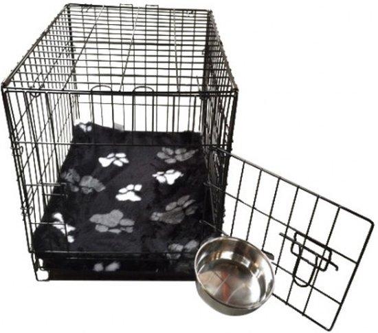 Topmast Hondenbench Bench Autobench Zwart - L - 91 cm - Opvouwbaar +  Teddybont Kussen Zwart print