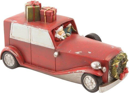 Clayre & Eef Kerstman in auto 19x8x10 cm