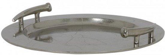 Schaal dienblad hendels zilver ruw nikkel rond 51 cm