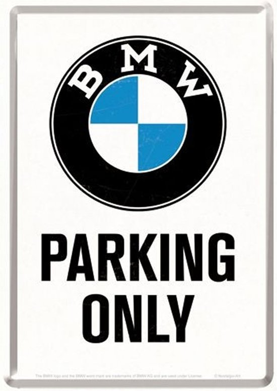 BMW Parking Only Metalen Metalen Postcard 10 x 14 cm