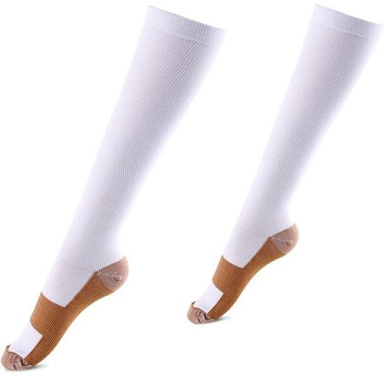 Compressie sokken wit koper - Compressie kousen - Vliegtuig sokken - Steunkousen reis - Maat 42-46