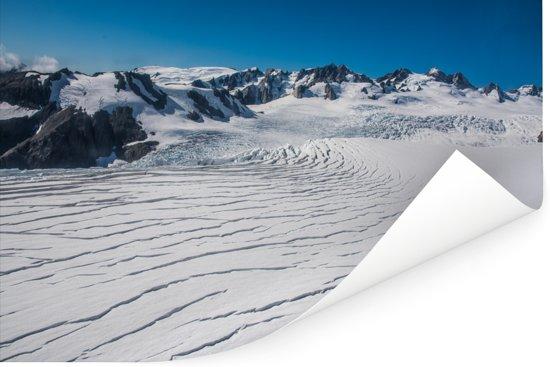 Luchtfoto op de Franz Josef Glacier Poster 180x120 cm - Foto print op Poster (wanddecoratie woonkamer / slaapkamer) XXL / Groot formaat!