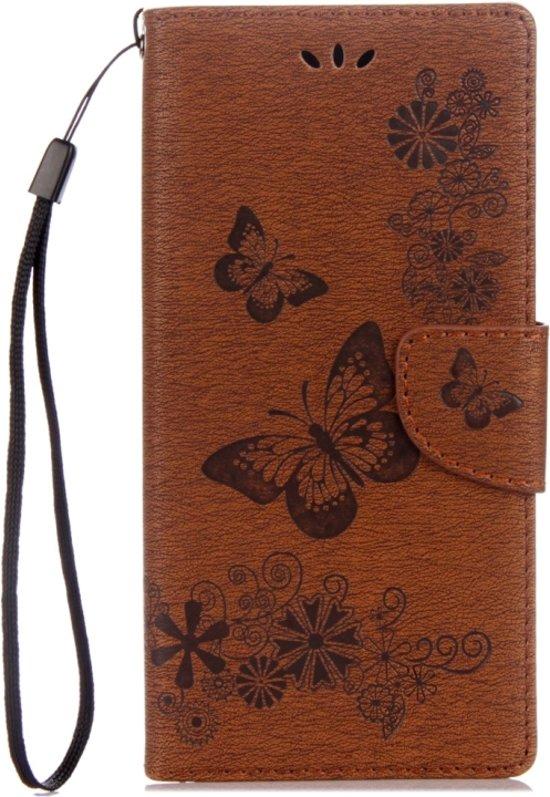 Voor Sony Xperia XA1 Pressed Bloemens vlinder patroon horizontaal Flip lederen hoesje met houder & opbergruimte voor pinpassen & portemonnee(bruin)