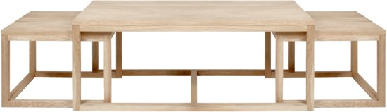 Eiken Salontafel White Wash.24designs Set 3 Salontafel Valda L120 X B60 X H50 Cm Eiken Whitewash