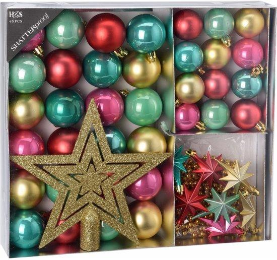 Bol Com 45 Delige Kerstboomversiering Set Roze Groene Rode