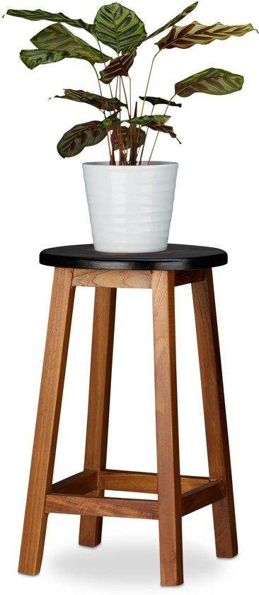 relaxdays plantentafel kruis - kruk - bloementafel - houten krukje - zetel - plantenkruk L