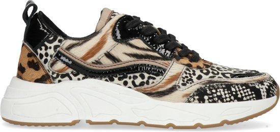 Manfield Dames Suède dad sneakers met dierenprint Maat 37