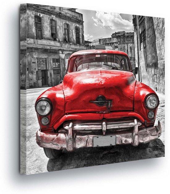 Red Car Vintage Canvas Print 80cm x 80cm