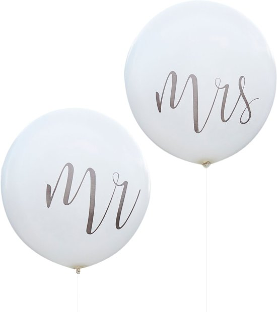 Ginger Ray Rustic Country - 'Mr' & 'Mrs' huwelijk ballon Ø 90 cm - wit - Set-2 Valentinaa