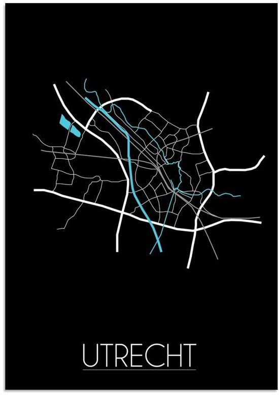Plattegrond Utrecht Stadskaart Poster DesignClaud - Zwart - B2 poster
