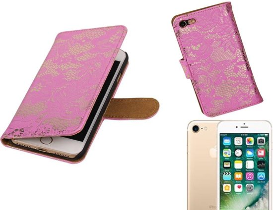 MP Case Lace Bookstyle Hoes voor iPhone 7 Roze in Zunderdorp