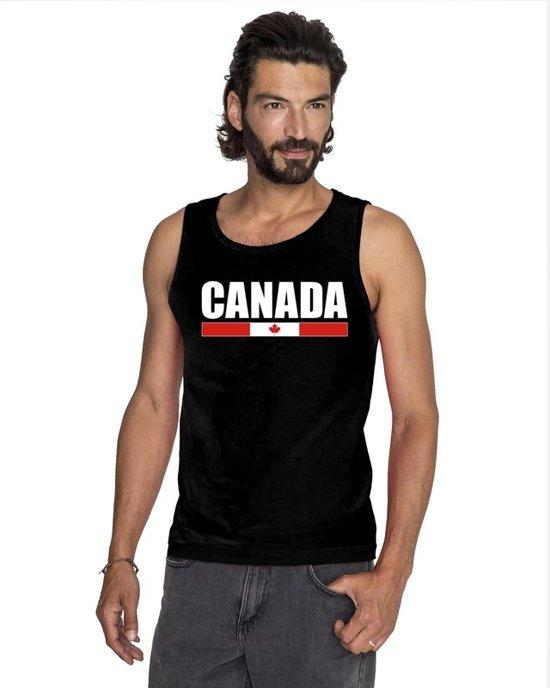 Zwart Canada supporter mouwloos shirt heren - Canada singlet shirt/ tanktop L