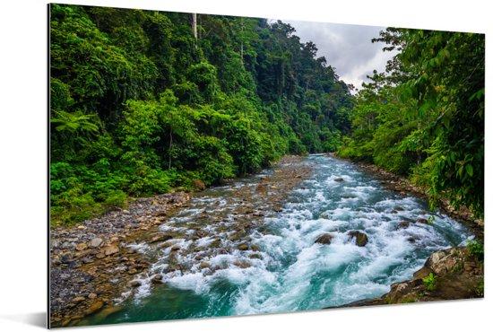 Rivier door het nationale park Gunung Leuser in Indonesië Aluminium 180x120 cm - Foto print op Aluminium (metaal wanddecoratie) XXL / Groot formaat!