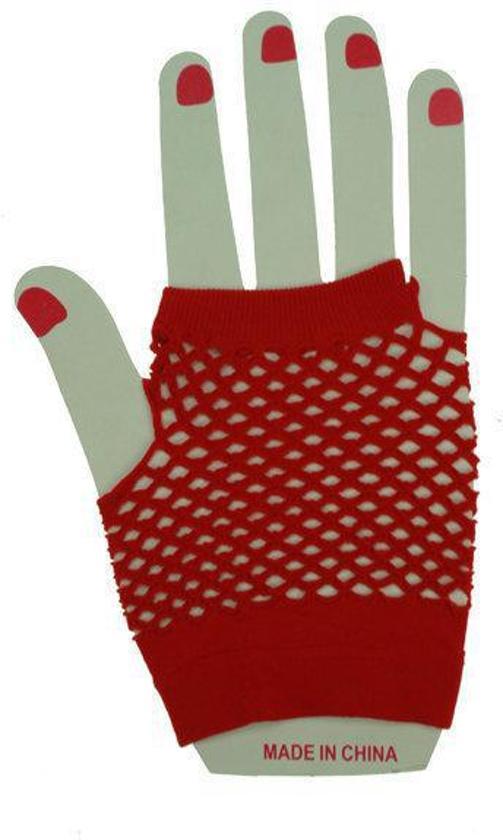 Nethandschoenen kort rood vingerloos