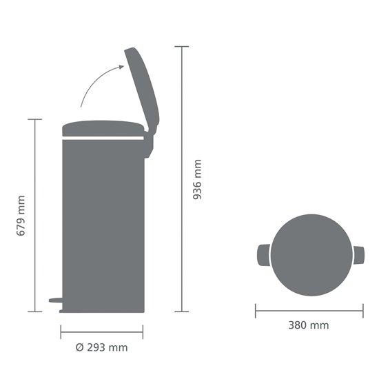 Brabantia NewIcon Pedaalemmer 30 Liter Platinum