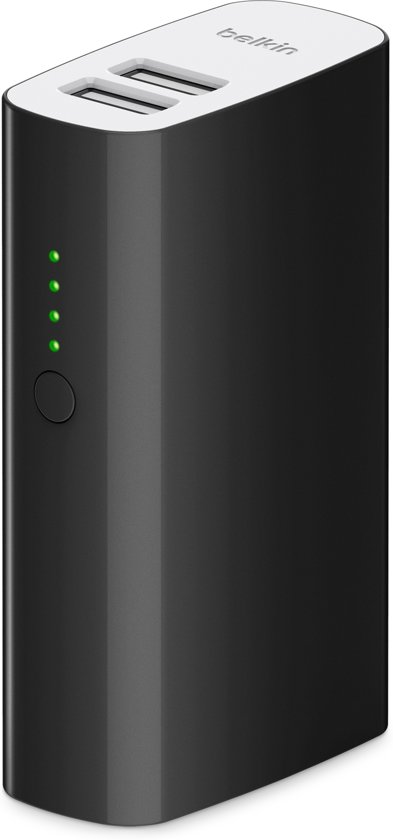 Belkin MIXIT Powerbank 4000 mAh met Micro-USB-kabel en 2 USB-poorten - Zwart