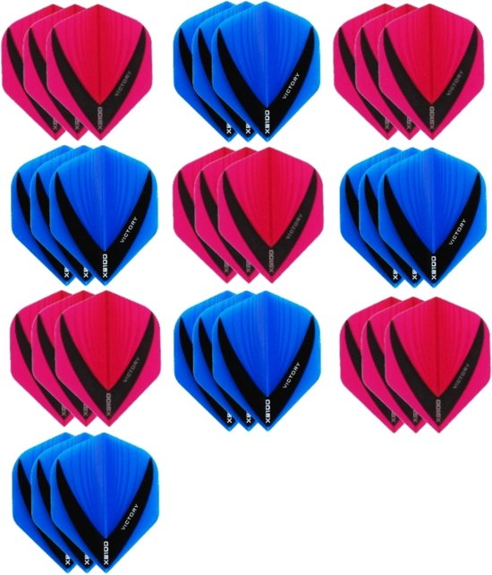 10 sets (30 stuks) - XS100 Vista flights - duo kleur pakket - Roze en Aqua/Blauw – flights - dartflights