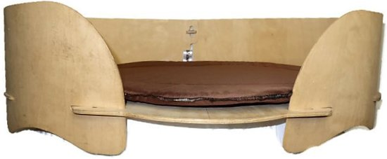 Boefje Houten Hondenmand - 80 x 90 cm - Woody Eco - Bruin Kussen