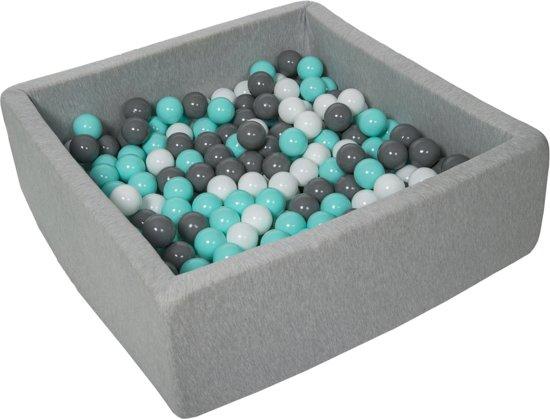 Ballenbak - stevige ballenbad - 90x90 cm - 300 ballen Ø 7 cm - wit, grijs, turquoise.