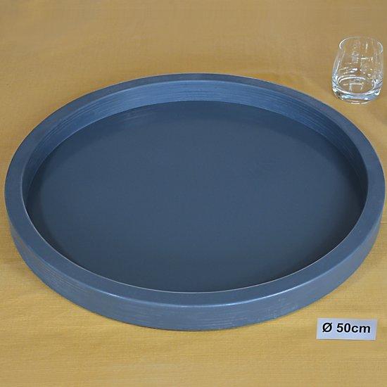 Dienblad Hout Rond GRIJS 50 cm | Houten Dienbladen 50x50cm Decoratie Serveerplank | Handgemaakt