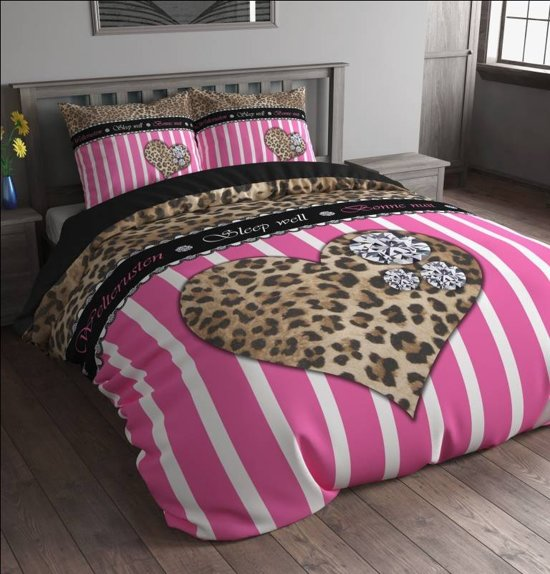 sleeptime diamond tiger dekbedovertrek eenpersoons 140 x 220 cm roze. Black Bedroom Furniture Sets. Home Design Ideas