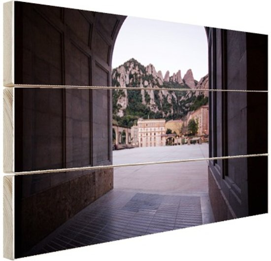 Klooster van Montserrat in Barcelona Hout 60x40 cm - Foto print op Hout (Wanddecoratie)