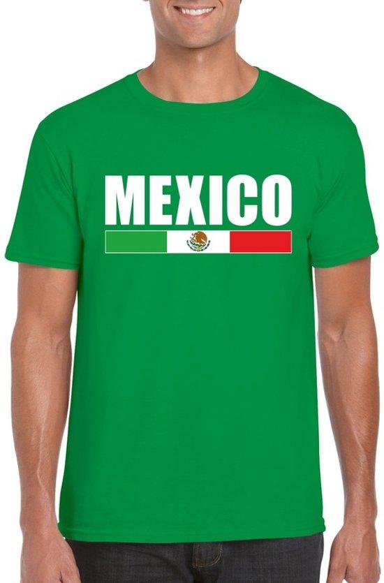 Groen Mexico supporter t-shirt voor heren - Mexicaanse vlag shirts S