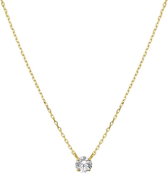 The Jewelry Collection Ketting Zirkonia 0,8 mm 40 - 44 cm - Geelgoud