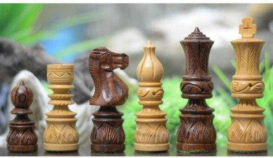 Afbeelding van het spel 'Moghul tijdperk' Serie schaakstukken, uniek Indiaas Sheesham hout, Koningstuk 95 mm