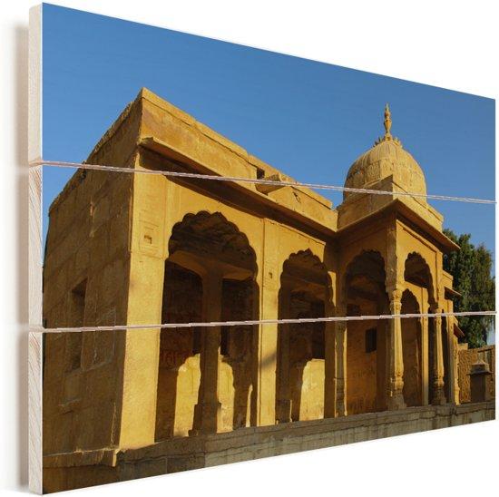 Een erg mooi en uniek Paviljoen te vinden in Jaisalmer Vurenhout met planken 90x60 cm - Foto print op Hout (Wanddecoratie)