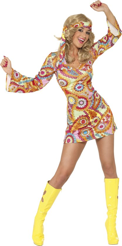 Hippie jurkje | Jaren 70 Verkleedkleding dames maat L (44-46)