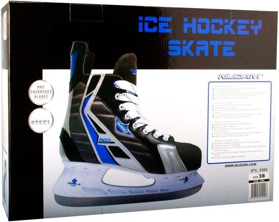 Nijdam IJshockeyschaats Polyester - Deluxe - Zwart/Blauw/Zilver - 40 - Zwart/Grijs - Maat 40