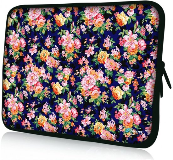 926a59912b1 Sleevy 11,6 laptophoes oranje/roze bloemetjes - Laptop sleeve - Macbook  hoes -